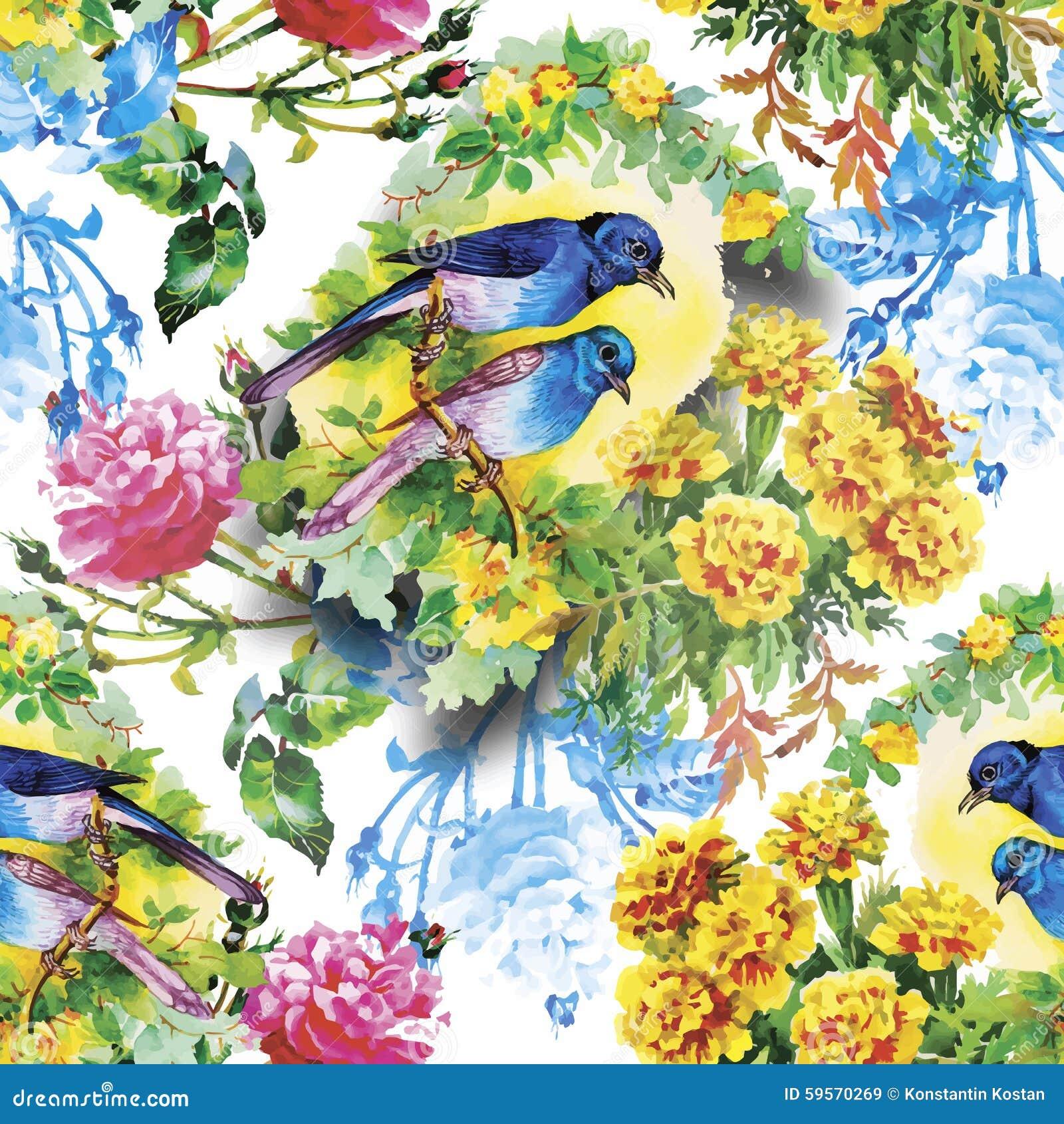 Uccelli esotici selvaggi dell acquerello sul modello senza cuciture dei fiori su fondo bianco