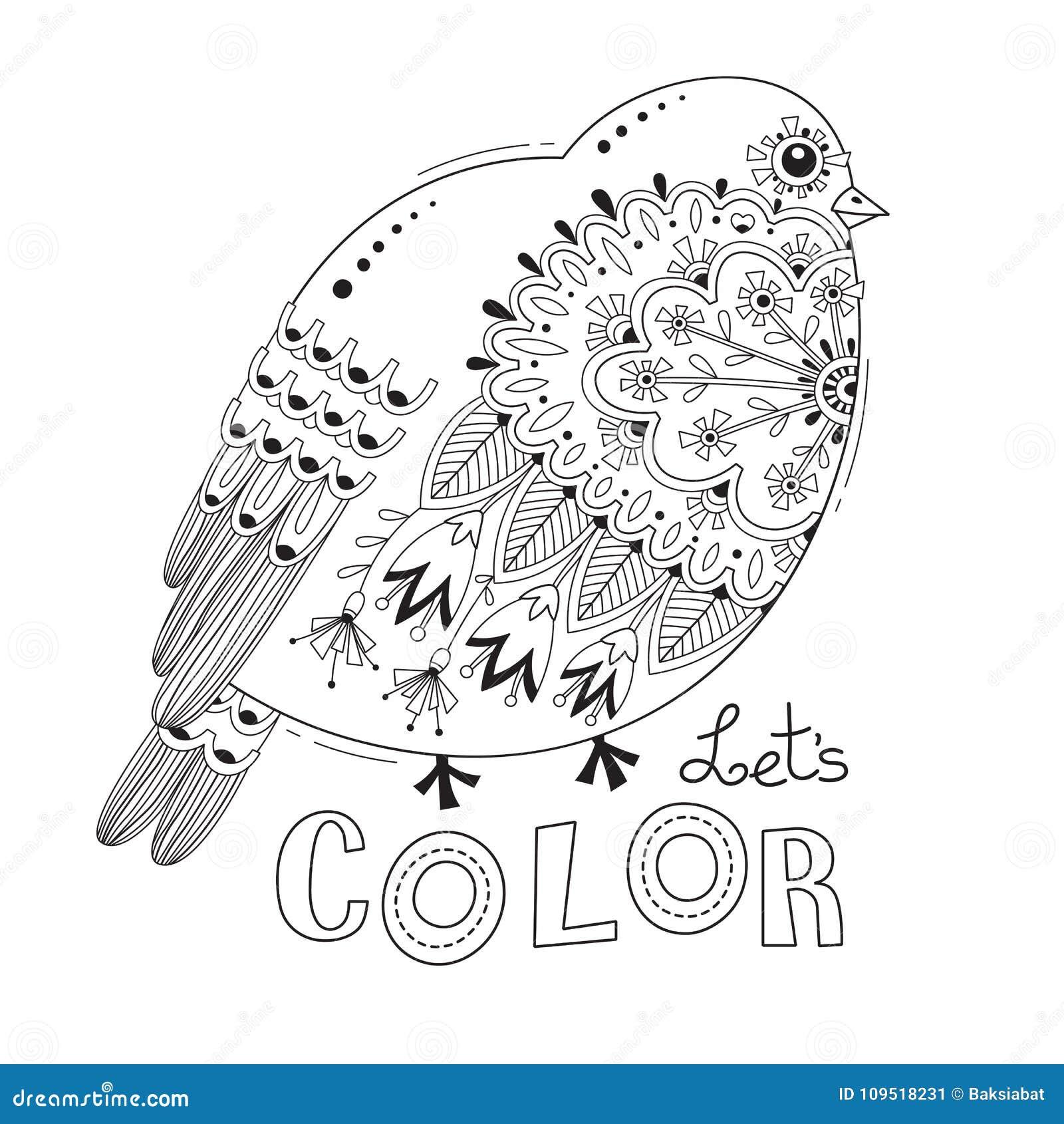 Uccello Con I Modelli Ed I Fiori Pagina Del Libro Da Colorare