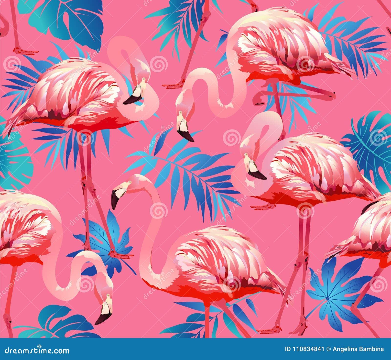Uccello del fenicottero e fondo tropicale dei fiori - vettore senza cuciture del modello