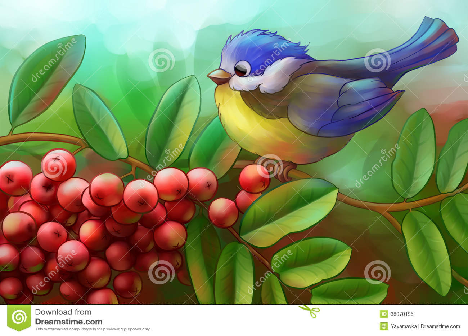 Uccello su un ramo della cenere di montagna