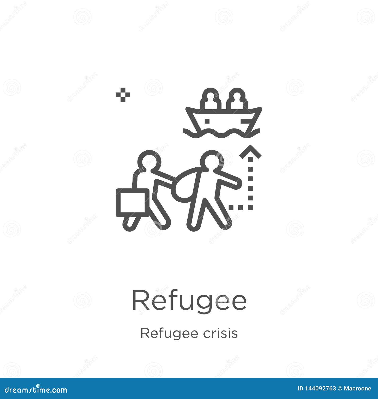 Uchodźca ikony wektor od uchodźcy kryzysu kolekcji Cienka kreskowa uchodźcy konturu ikony wektoru ilustracja Kontur, cienieje kre