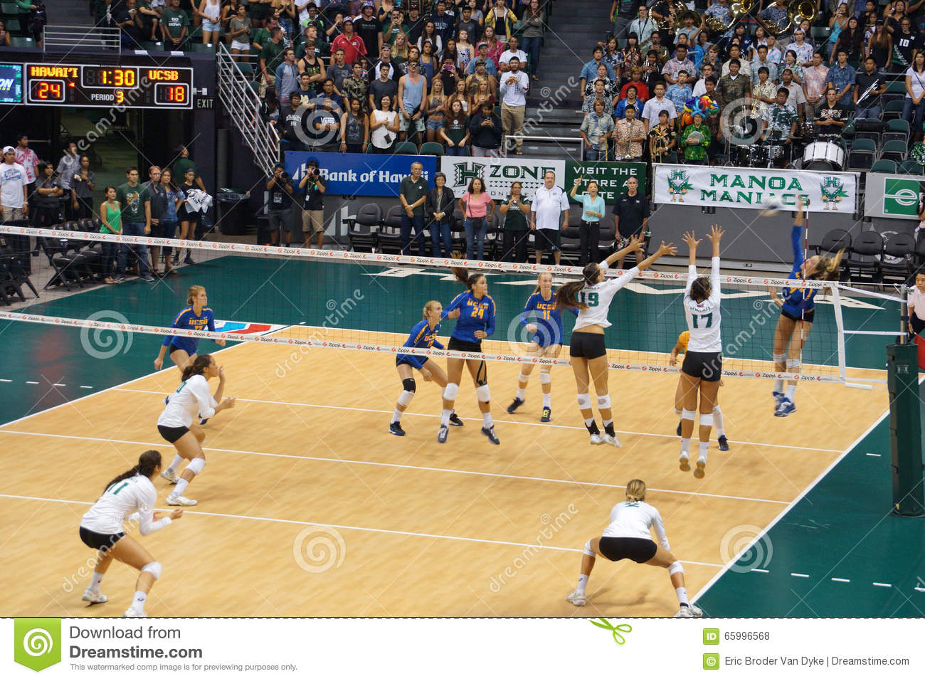 UCSB Player Jumps To Hit Volleyball As UH Women's Players ...