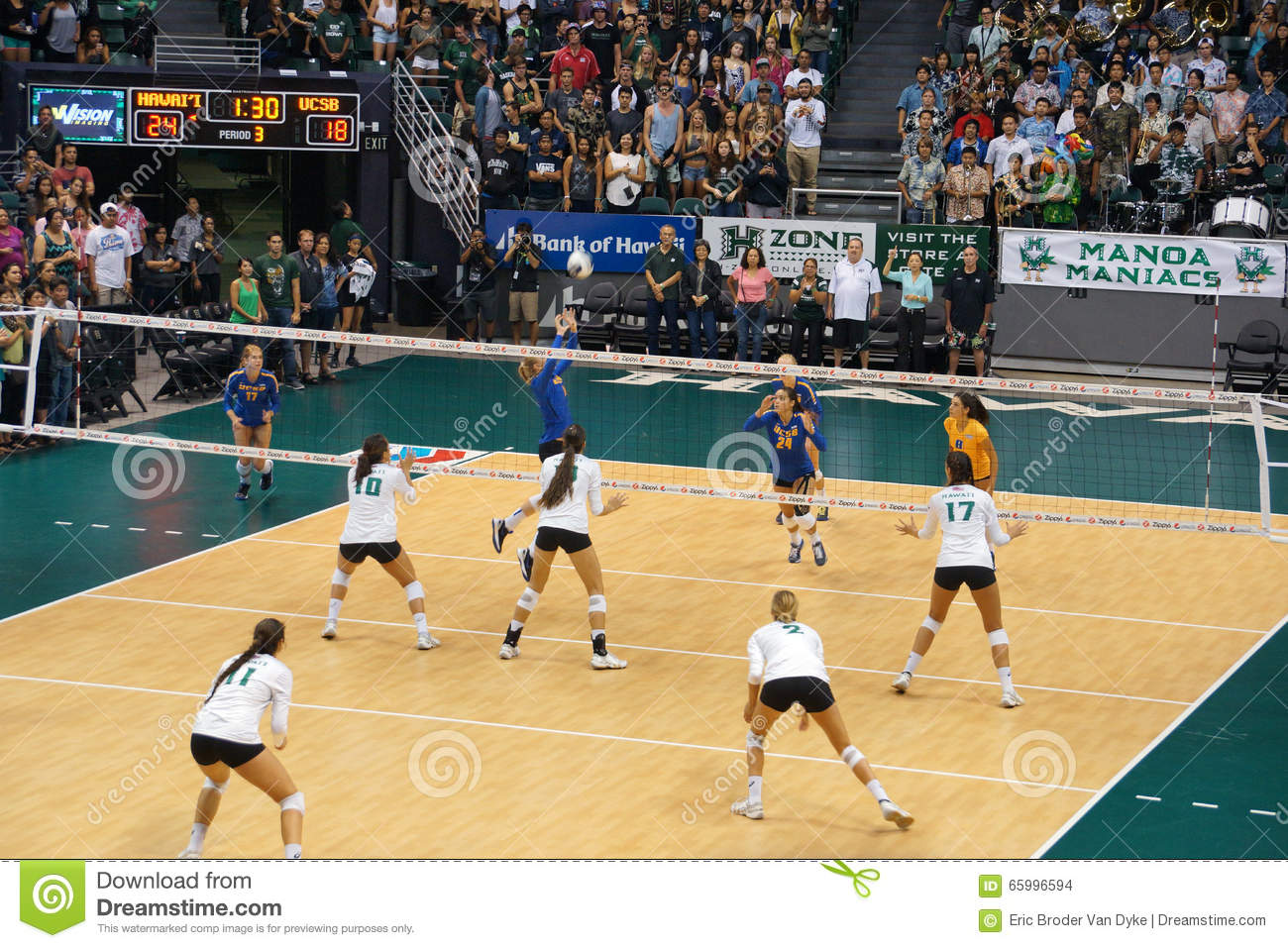 UCSB Player Volleys Volleyball To Teammate As UH Women's ...