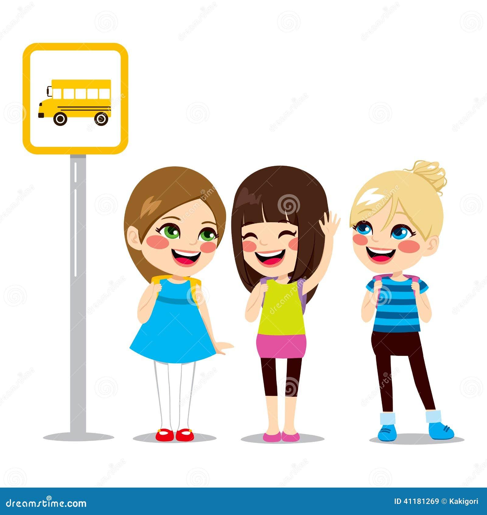 Uczennicy Czeka Autobusową przerwę