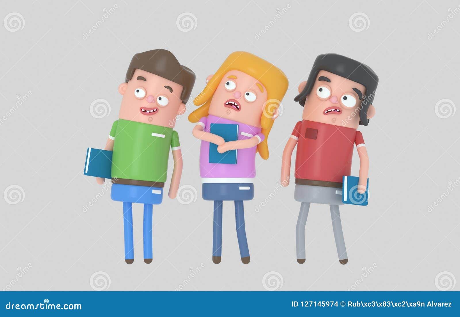 Ucznie płaci uwagę trzyma książkę 3d illustratiion