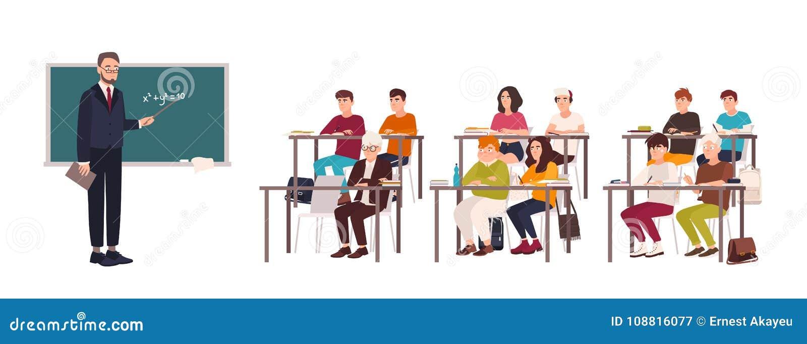 Ucznie siedzi przy biurkami w sala lekcyjnej, demonstruje dobrego zachowanie i attentively słucha nauczyciel pozycja beside,