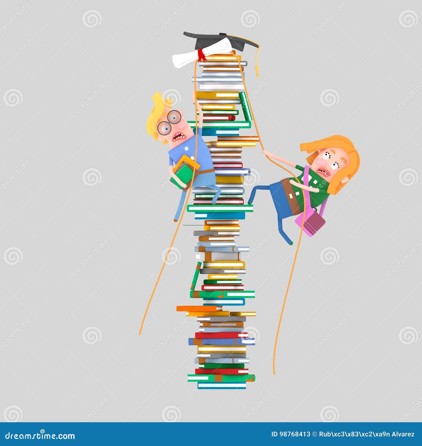 Ucznie wspina się górę książki 3d