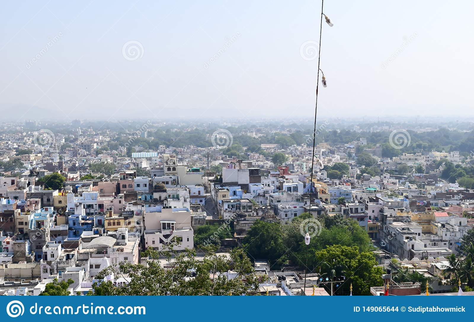 Udaipur, Rajasthan, India May 2019 - The beautiful panoramic landscape Aerial view of Udaipur City skyline. Lots of buildings can
