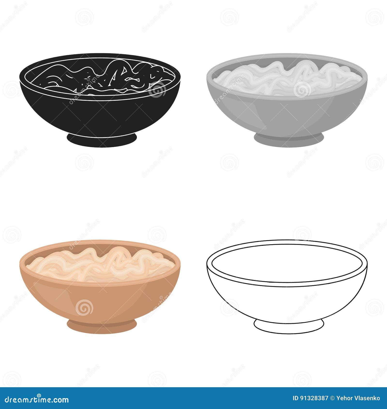 Udon icon in cartoon style isolated on white background. Sushi symbol stock vector illustration.