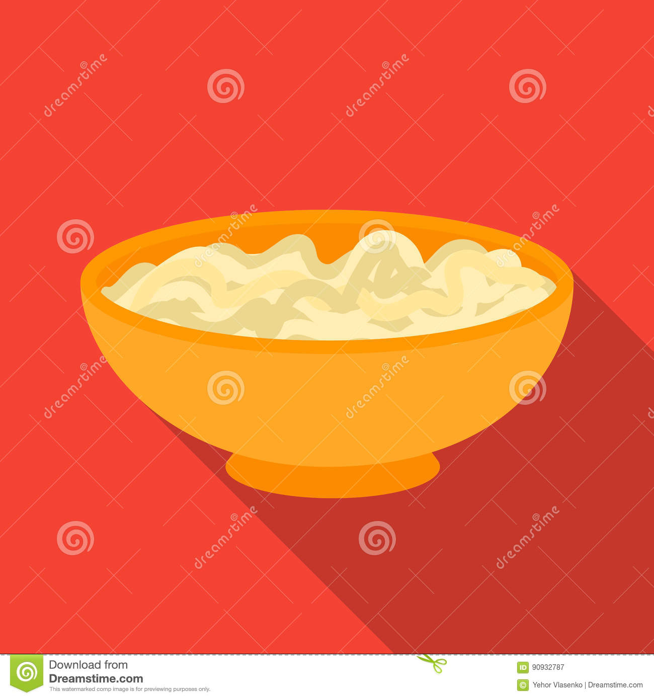 Udon icon in flate style isolated on white background. Sushi symbol stock vector illustration.