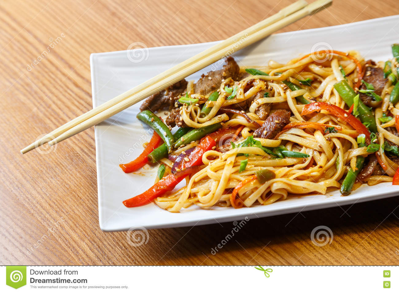 Udon Noodles With Beef In Asian Restaurant Stock Photo