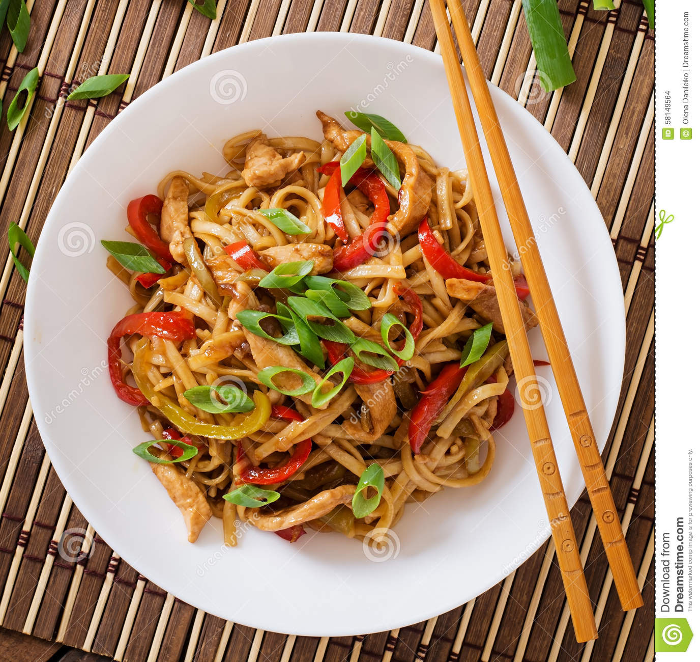Chicken Cuisine Japanese Noodles Peppers