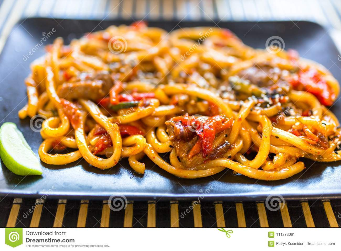 Udon noodles with duck