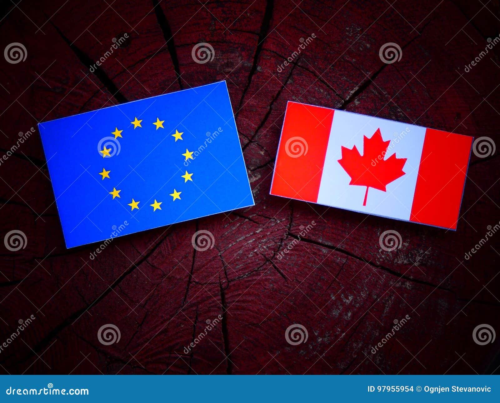 UE zaznacza z kanadyjczyk flaga na drzewnym fiszorku odizolowywającym