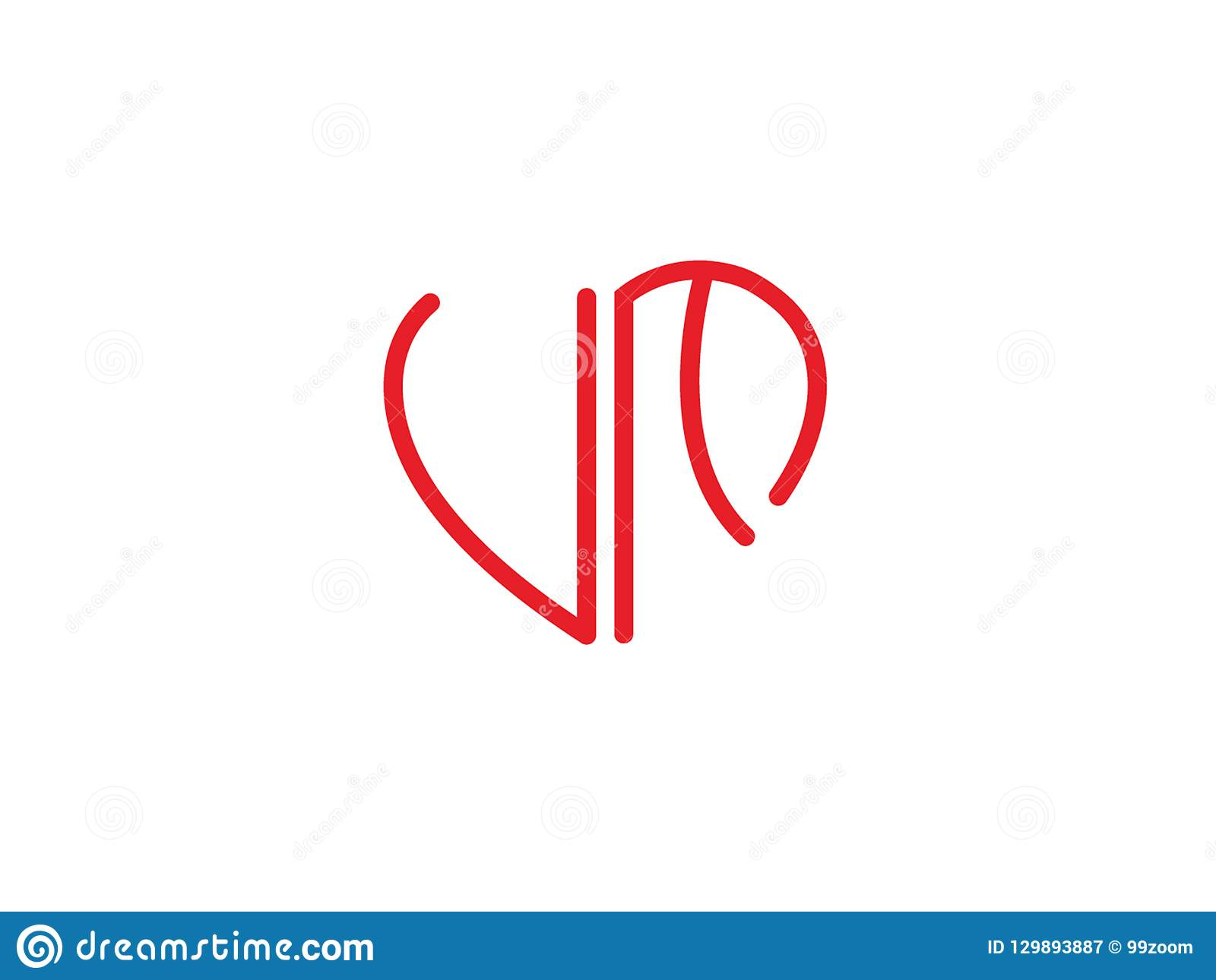 UF Initial Heart Shape Red Colored Love Logo Stock Vector