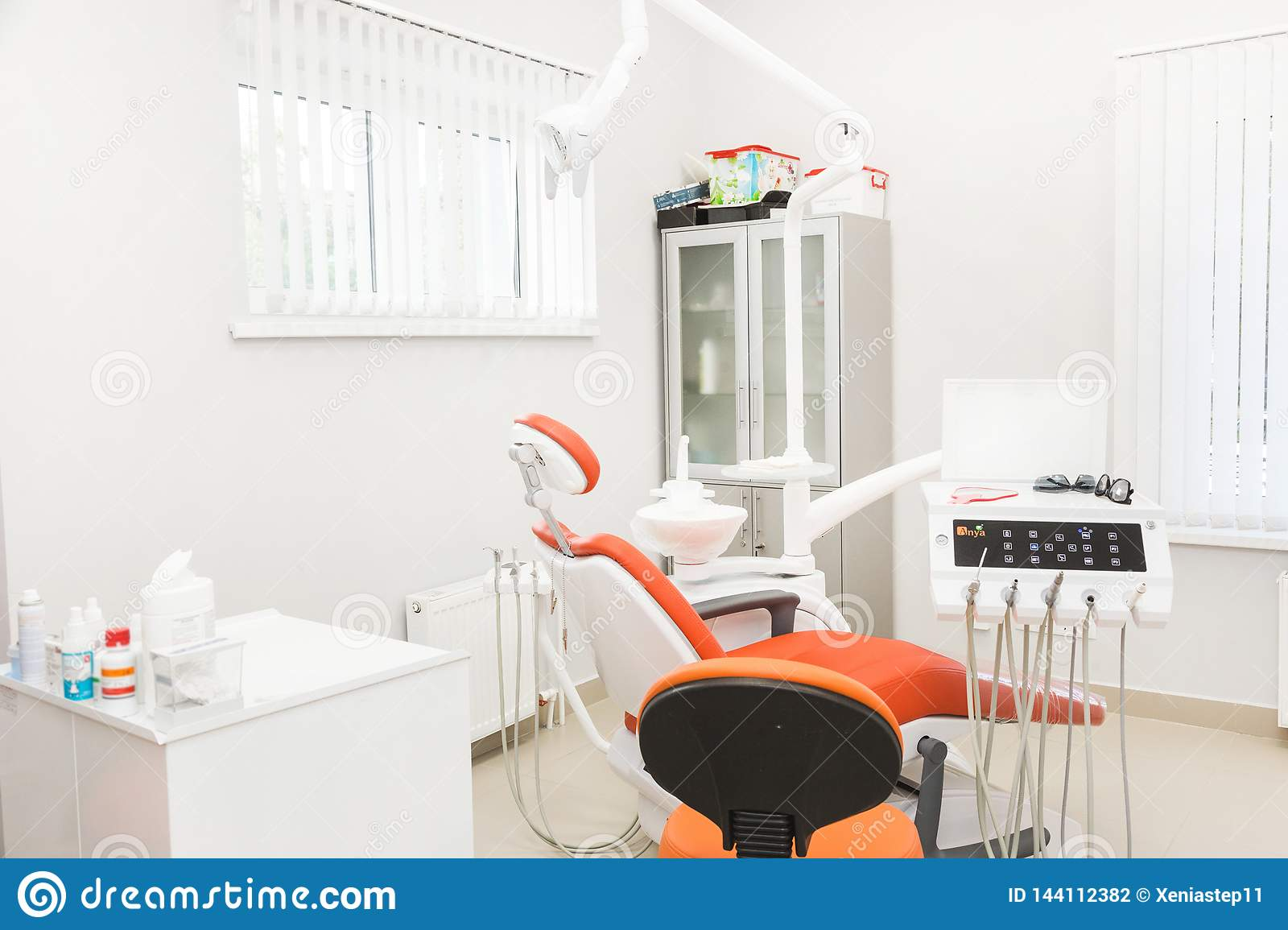 UFA, RUSSIA - September 21, 2018 Editorial photo of dental clinic. Reception, examination of the patient. Teeth care
