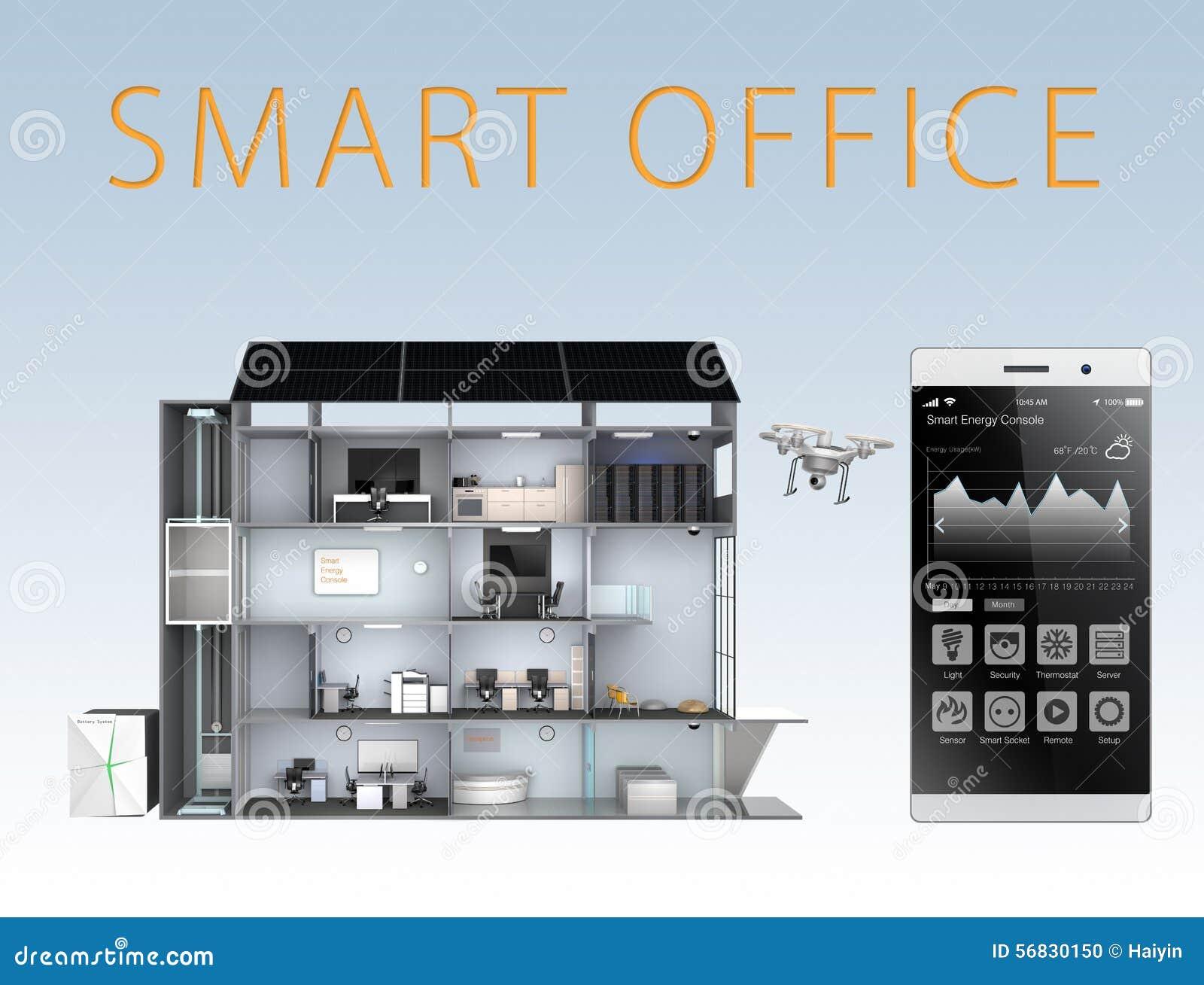 Ufficio astuto e smartphone isolati su fondo blu il for Ufficio di presidenza camera