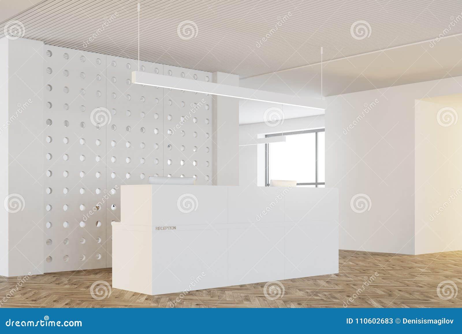 Reception Ufficio Legno : Ufficio bianco della parete del modello lato della reception