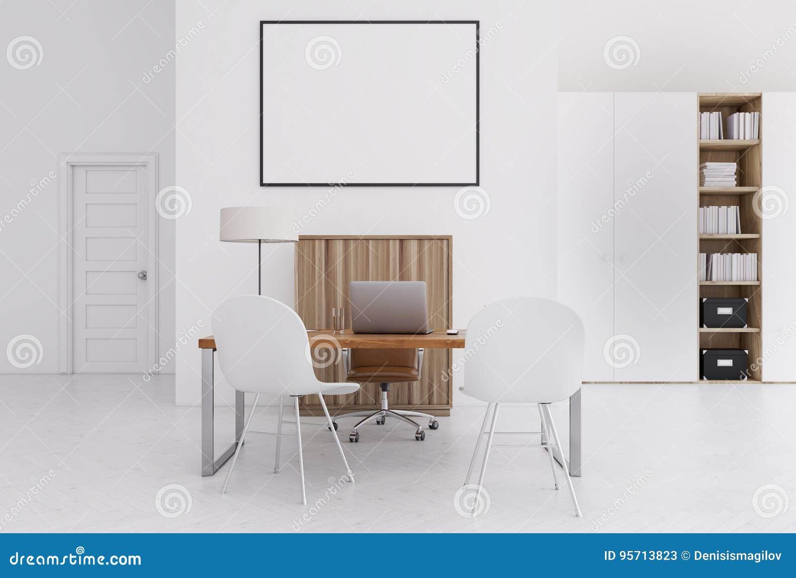 Ufficio Legno Bianco : Ufficio bianco e di legno piccolo manifesto illustrazione di stock