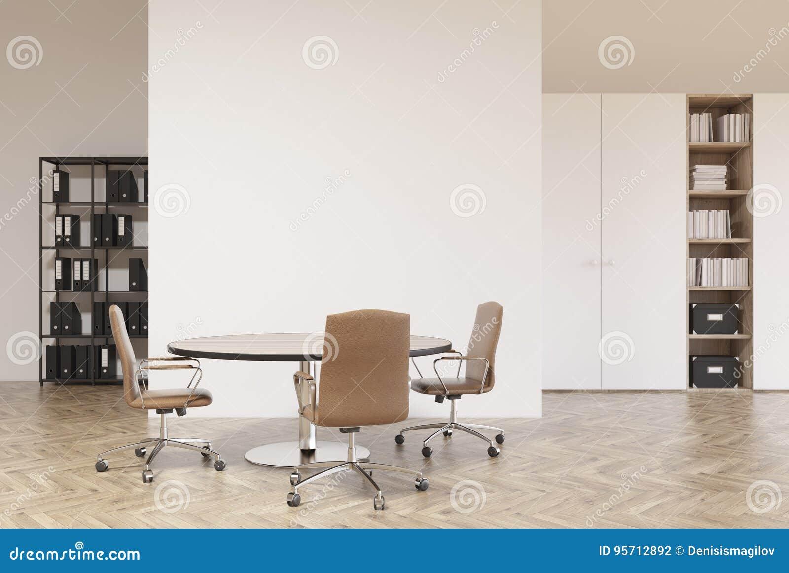 Ufficio Legno Bianco : Ufficio bianco e di legno scaffali illustrazione di stock