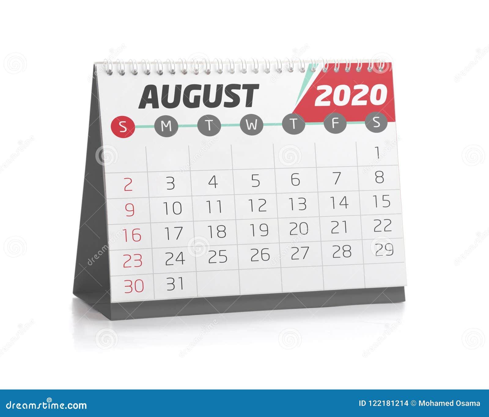 Agosto 2020 Calendario.Ufficio Calendario Agosto 2020 Illustrazione Di Stock