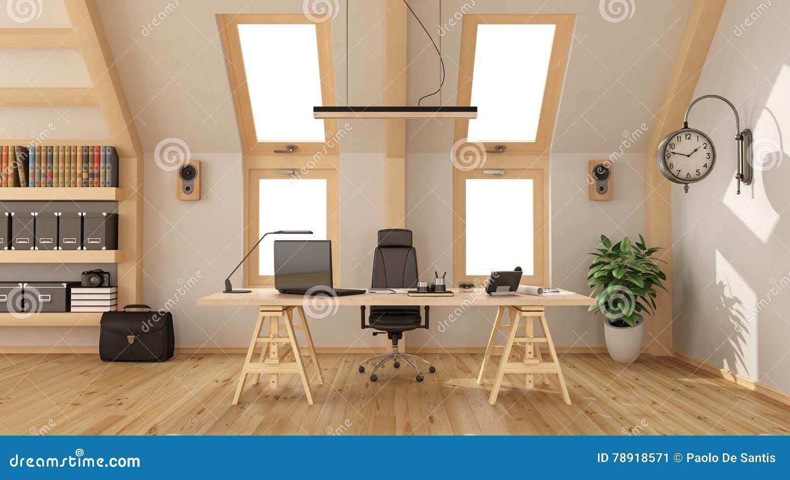 Ufficio di legno nella soffitta