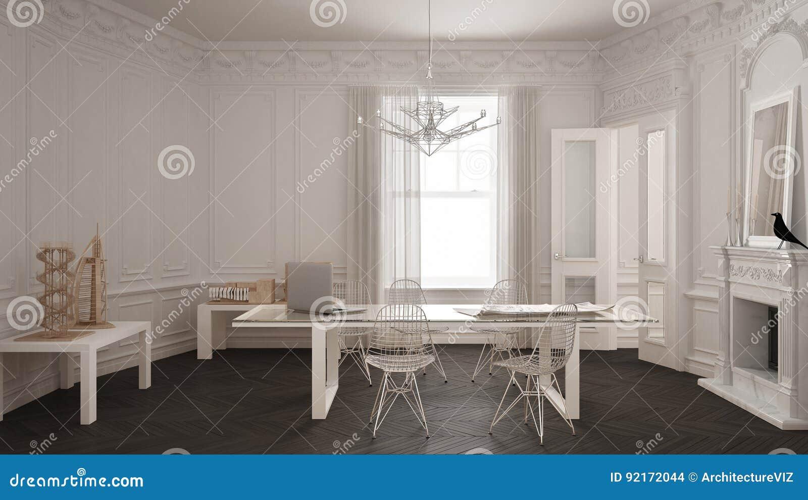 Ufficio Bianco E Grigio : Ufficio minimalista moderno nella stanza dannata classica con il