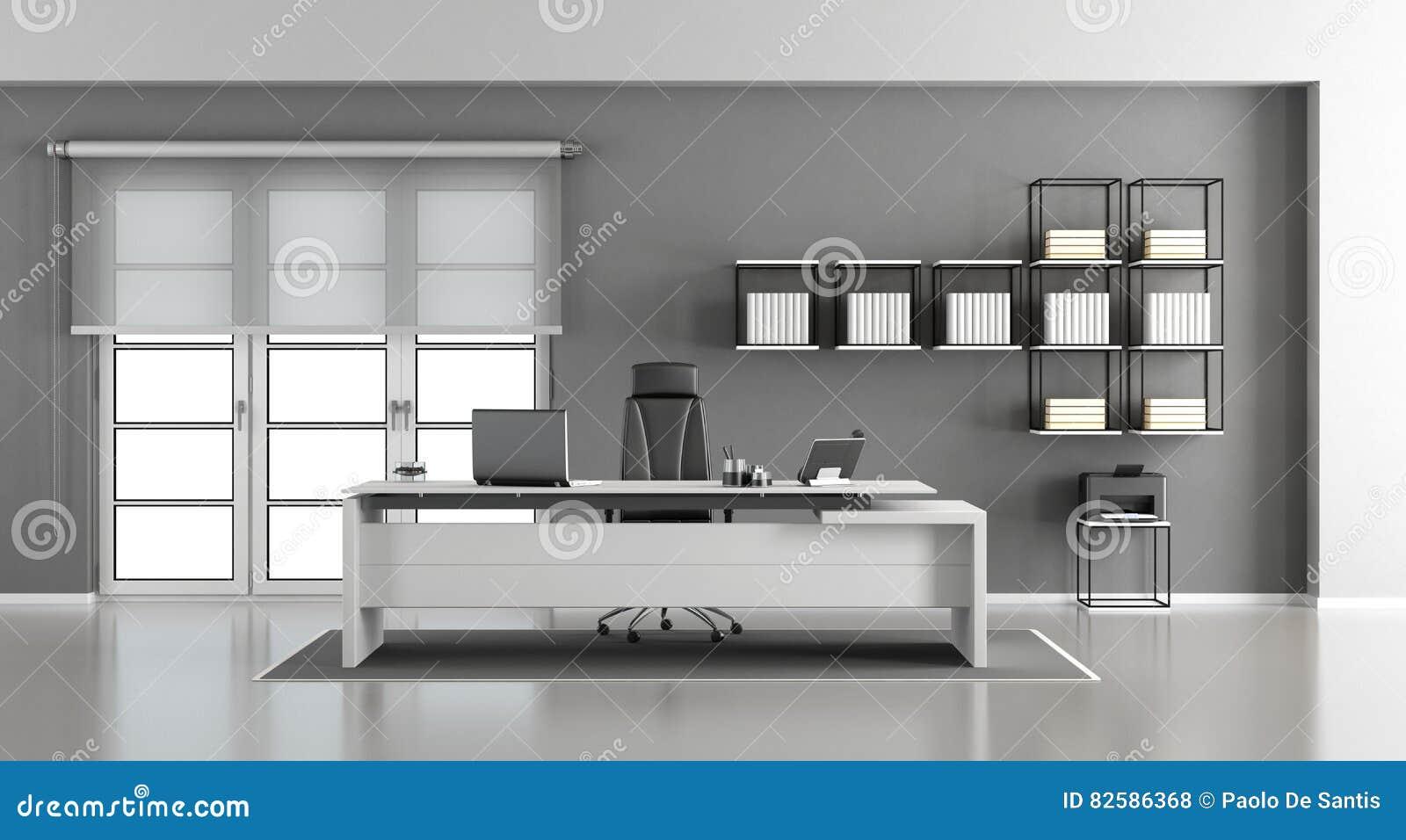 Ufficio Bianco E Grigio : Ufficio moderno bianco e grigio illustrazione di stock