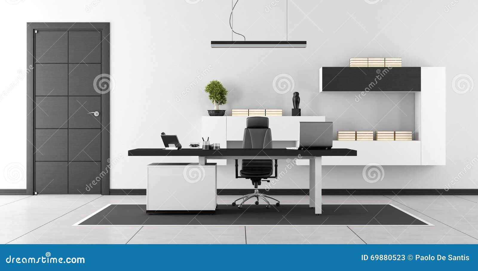 ufficio moderno in bianco e nero illustrazione di stock