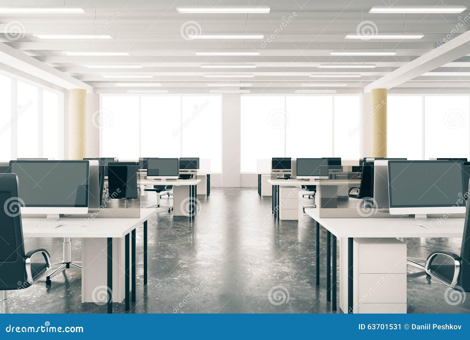Ufficio moderno del sottotetto dello spazio aperto con for Mobilia spazio