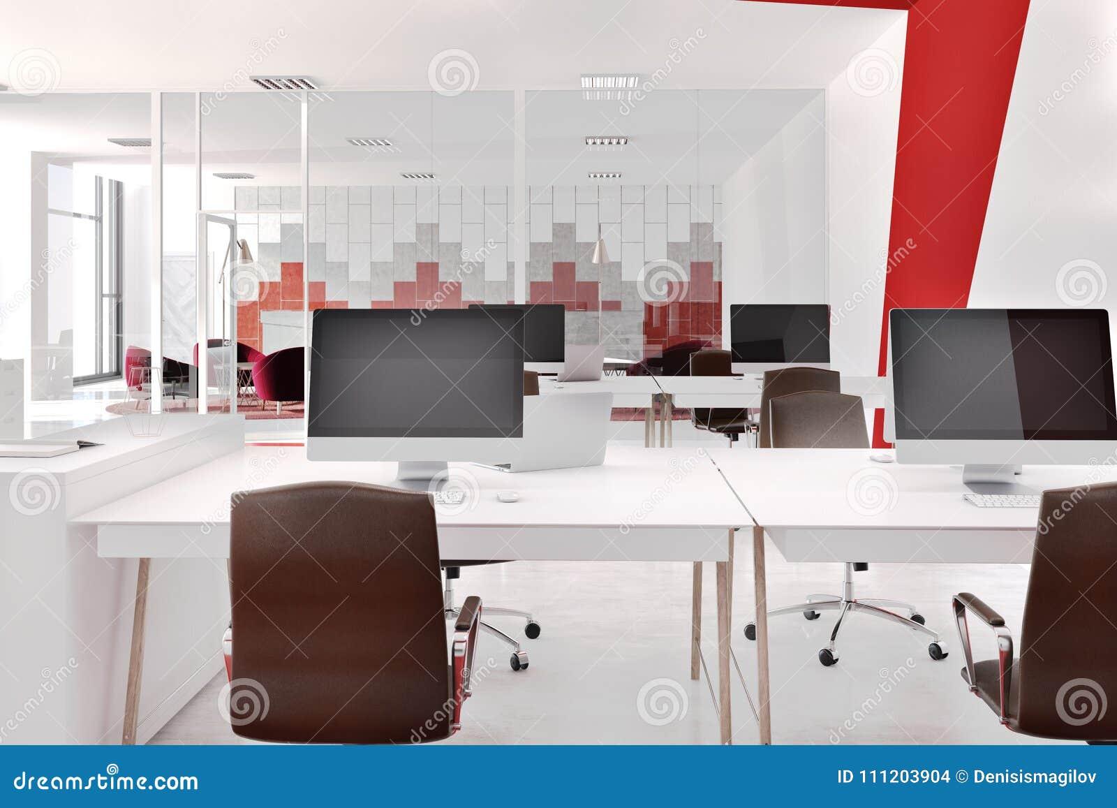 Ufficio Rosso E Bianco : Ufficio moderno rosso e bianco anteriore illustrazione di stock