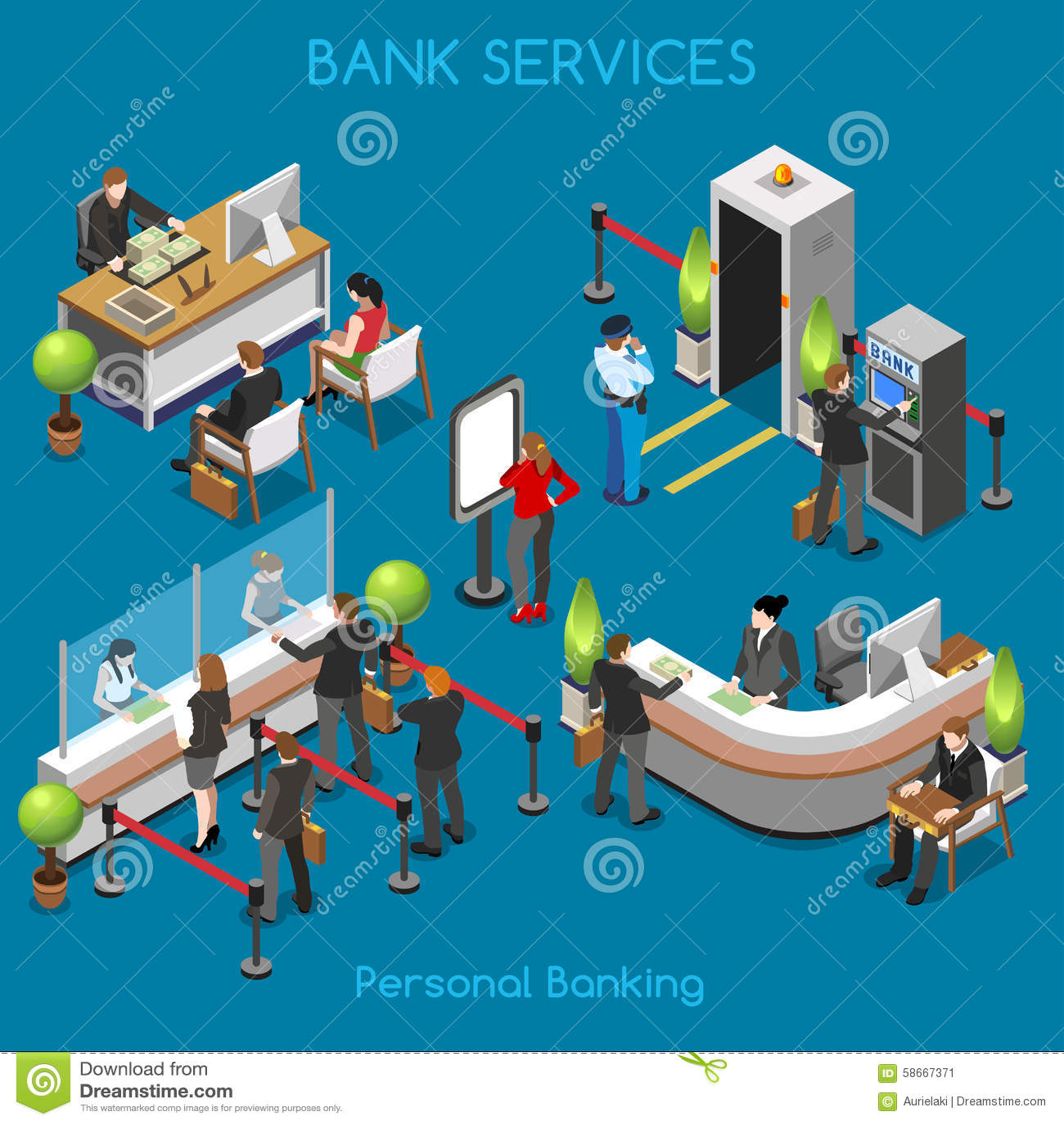 Ufficio 02 persone della Banca isometriche