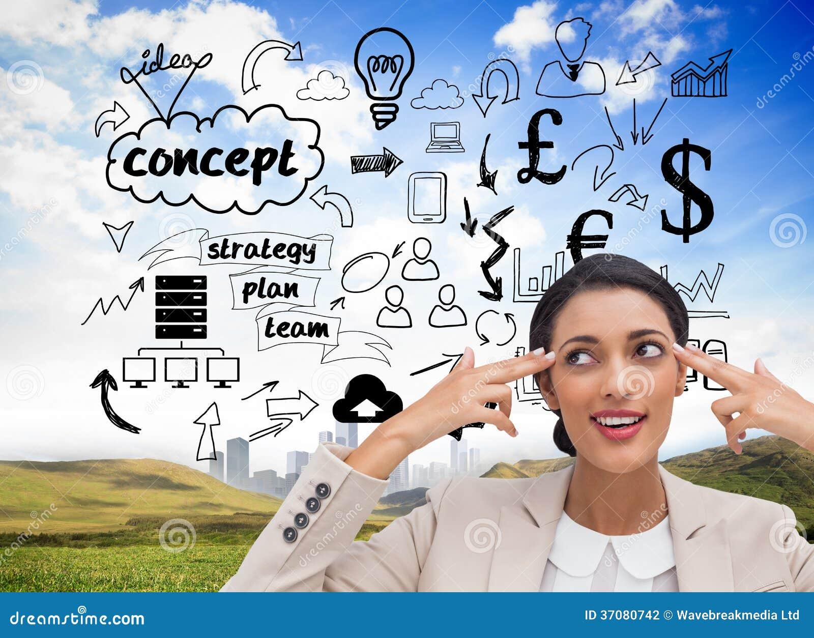 Download Ufny Młody Bizneswoman Wskazuje Jej Głowę Z Ona Palce Zdjęcie Stock - Obraz złożonej z proces, city: 37080742