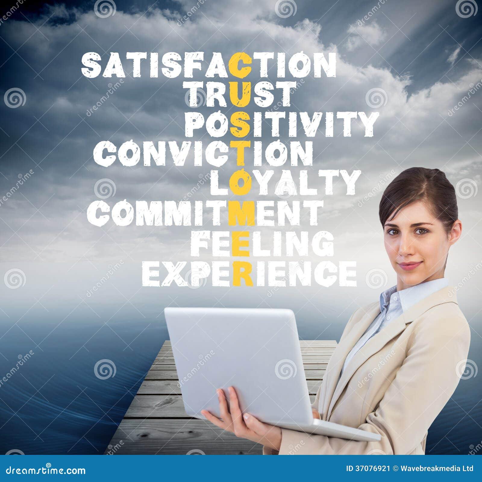 Download Ufny Młody Bizneswoman Z Laptopem Ilustracji - Ilustracja złożonej z jaskrawy, woda: 37076921