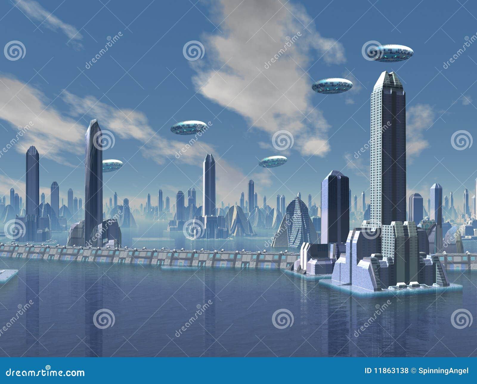 UFO über futuristischer ausländischer Stadt