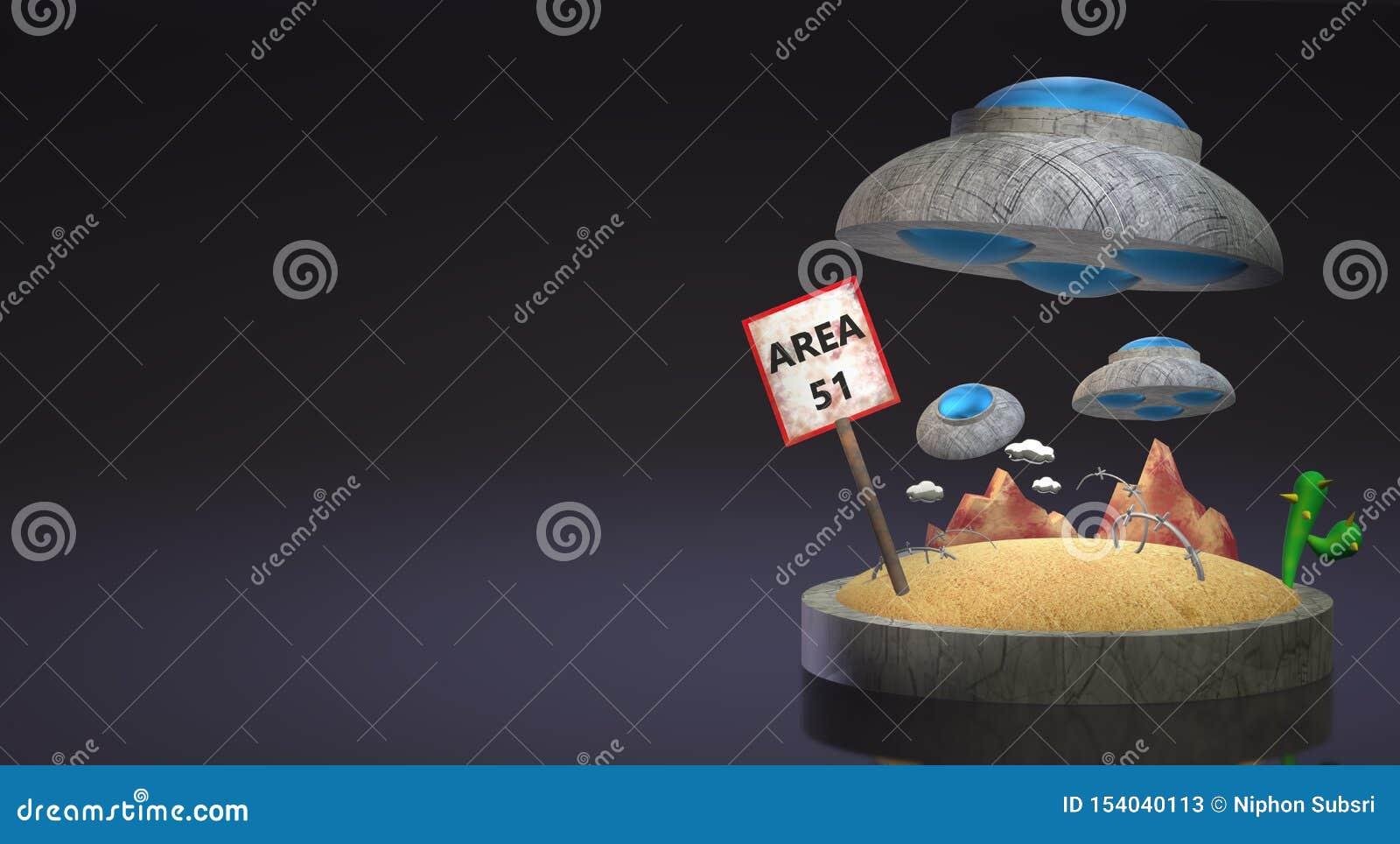 Ufo στην περιοχή 51 τρισδιάστατη απόδοση για το περιεχόμενο επιστήμης