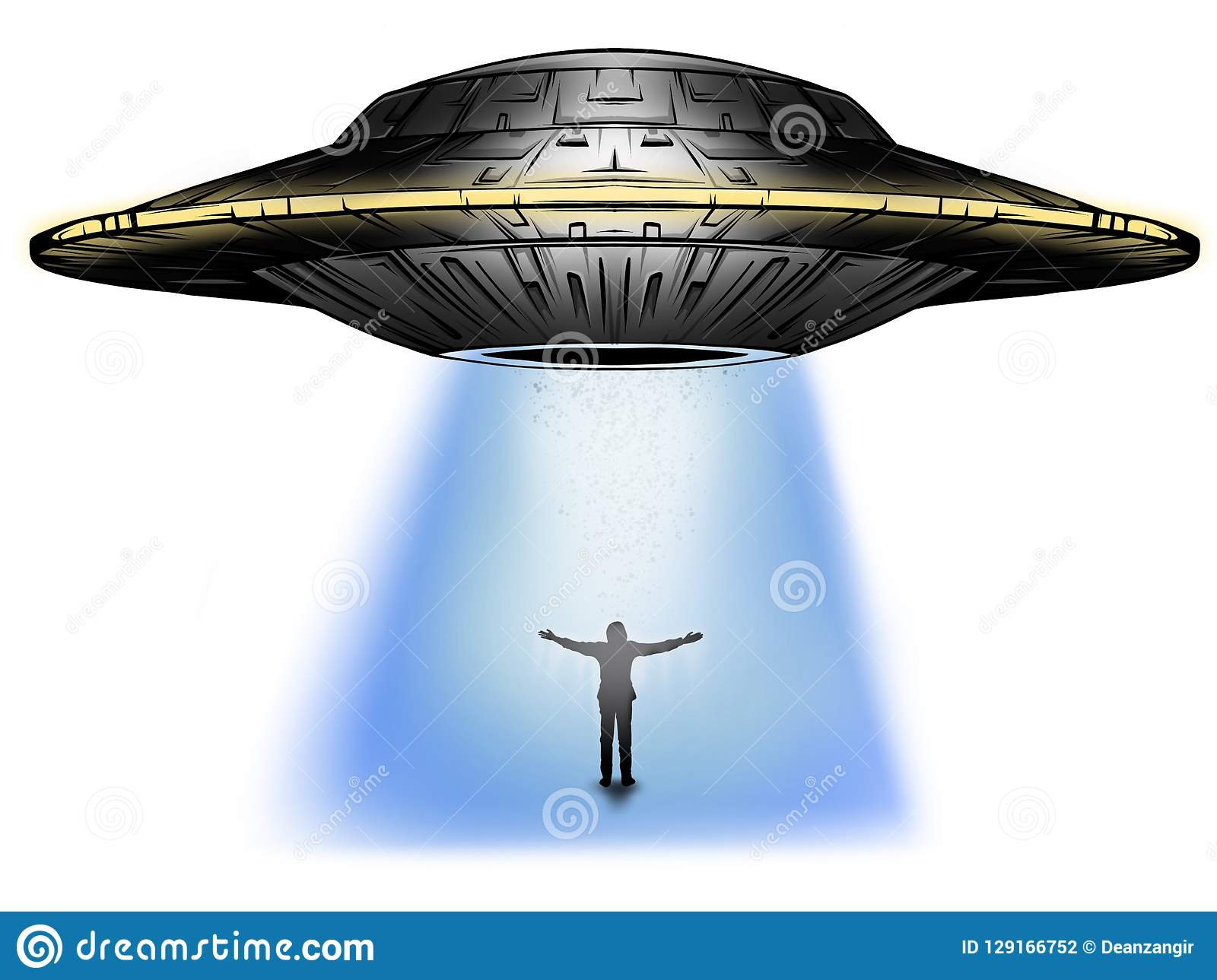 UFO abducts human. Space ship UFO ray of light in the night sky.
