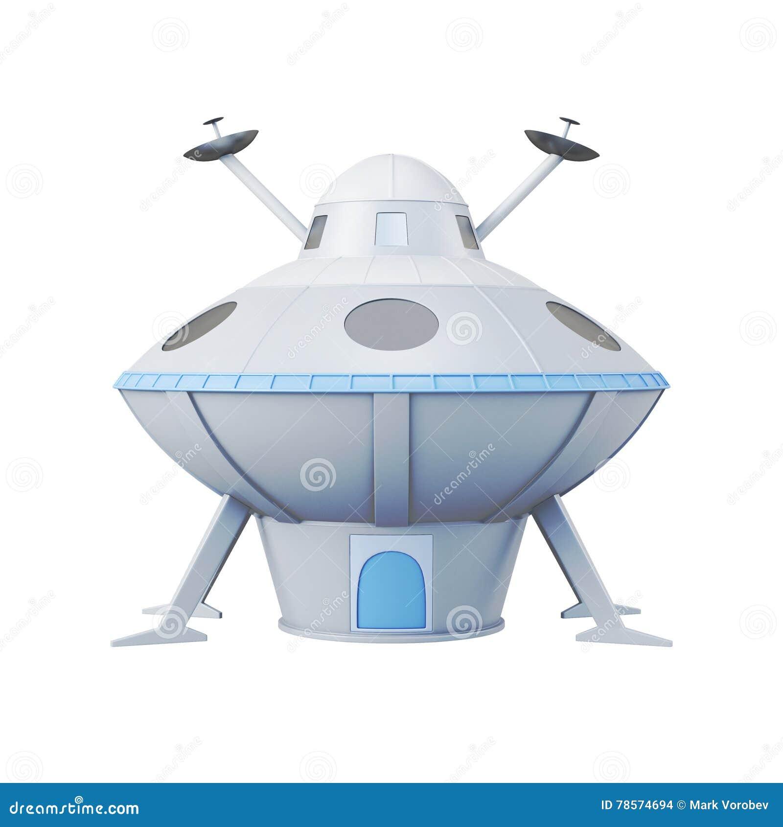 UFO aislado en el fondo blanco representación 3d