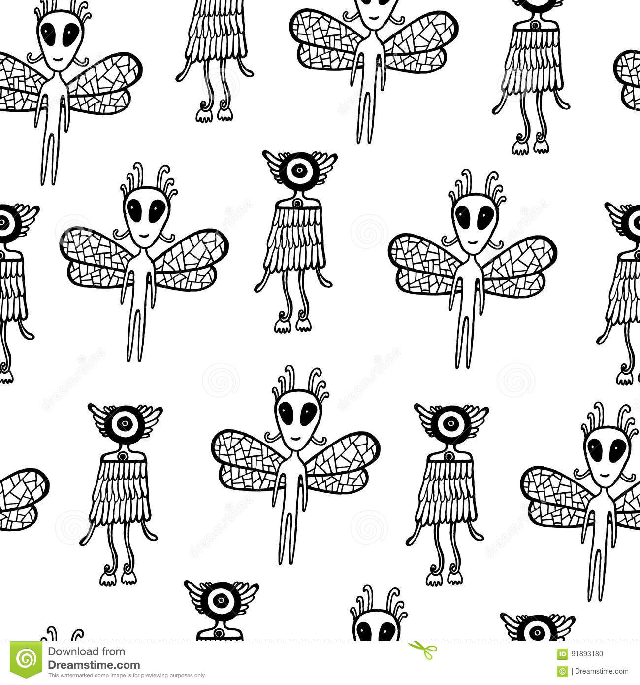 Ufo Alien Seamless Pattern. Hand Drawn Coloring Page For Kids An ...