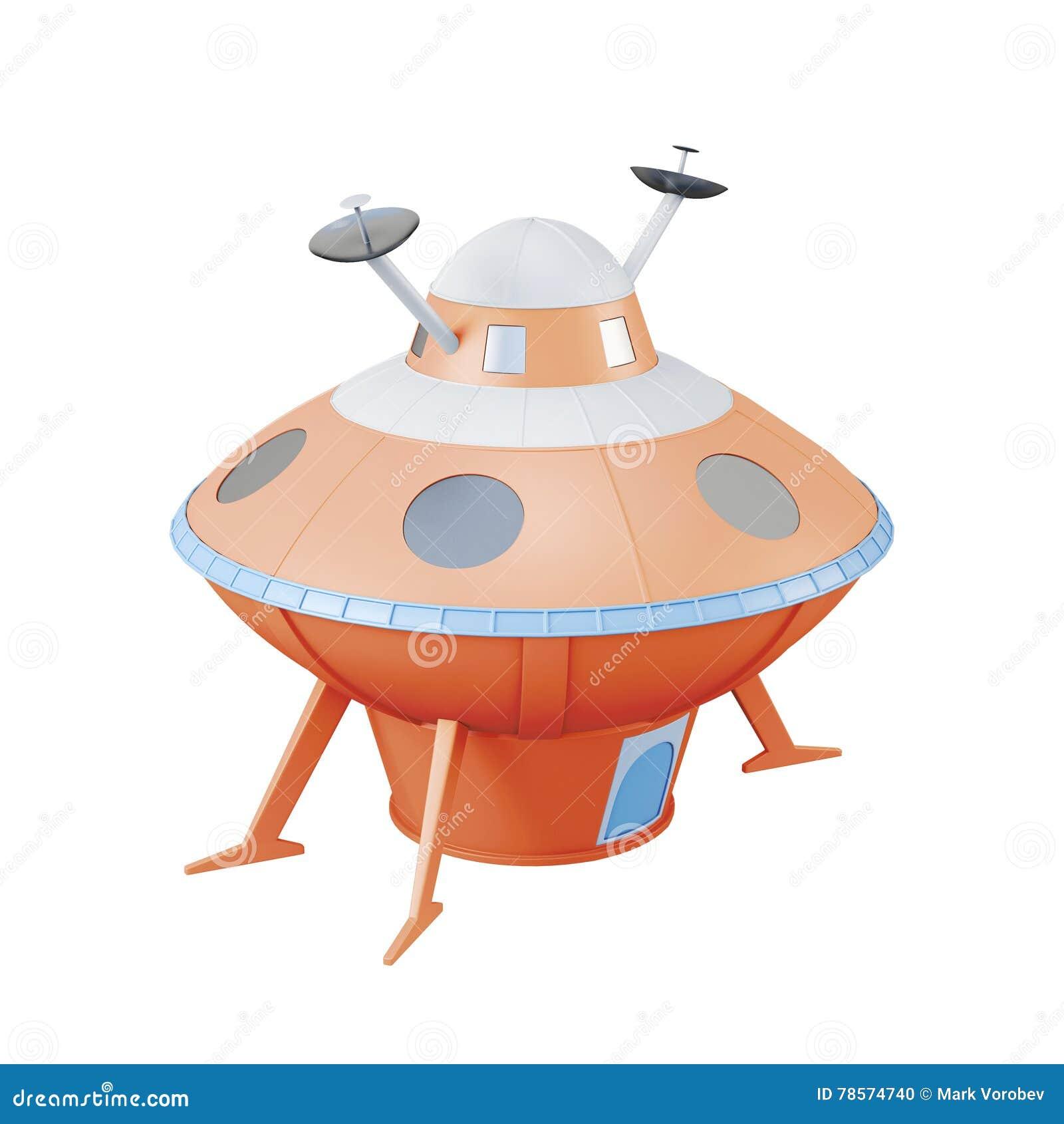 UFO anaranjado aislado en el fondo blanco representación 3d