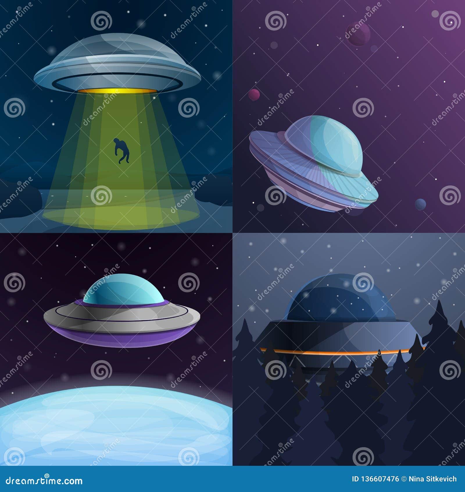 UFO banner set, cartoon style