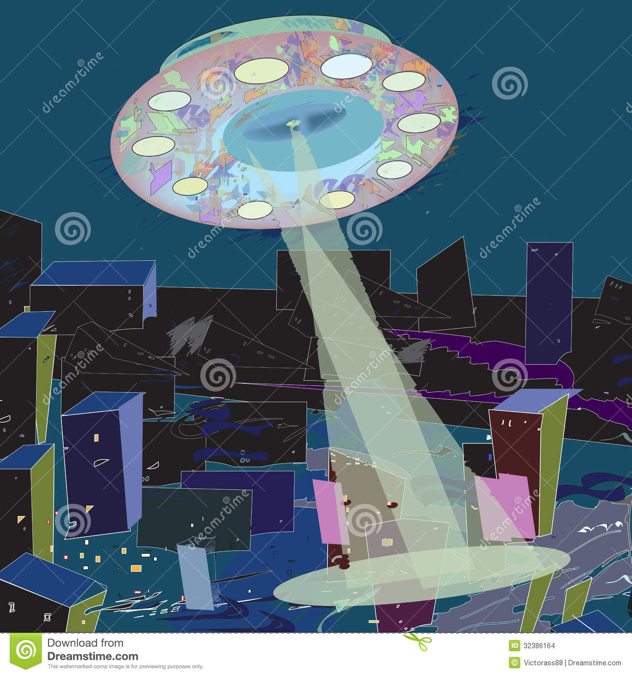 Ufo beaming destroyed city illustration and vector.
