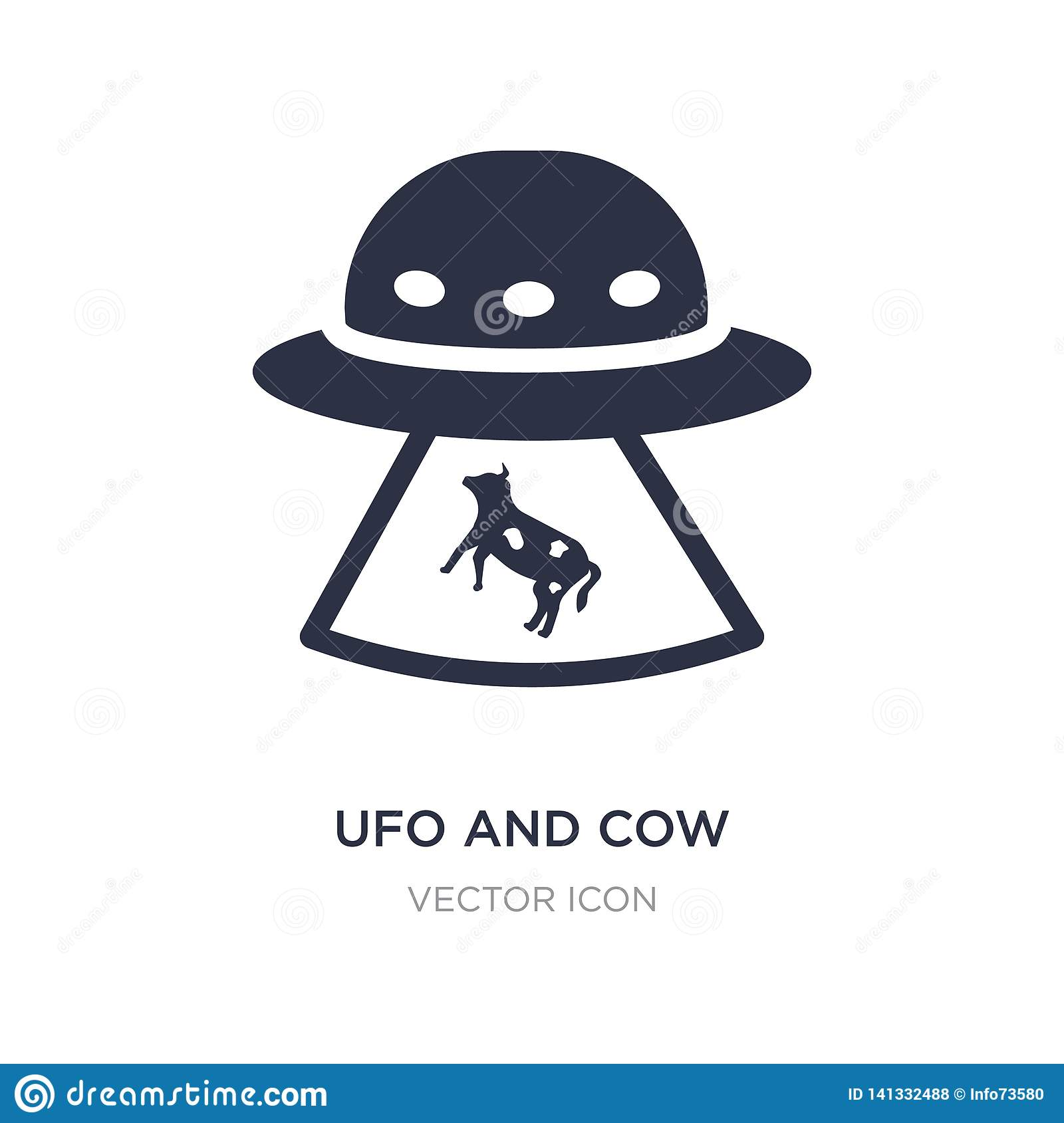 ufo and cow icon on white background. Simple element illustration from Astronomy concept