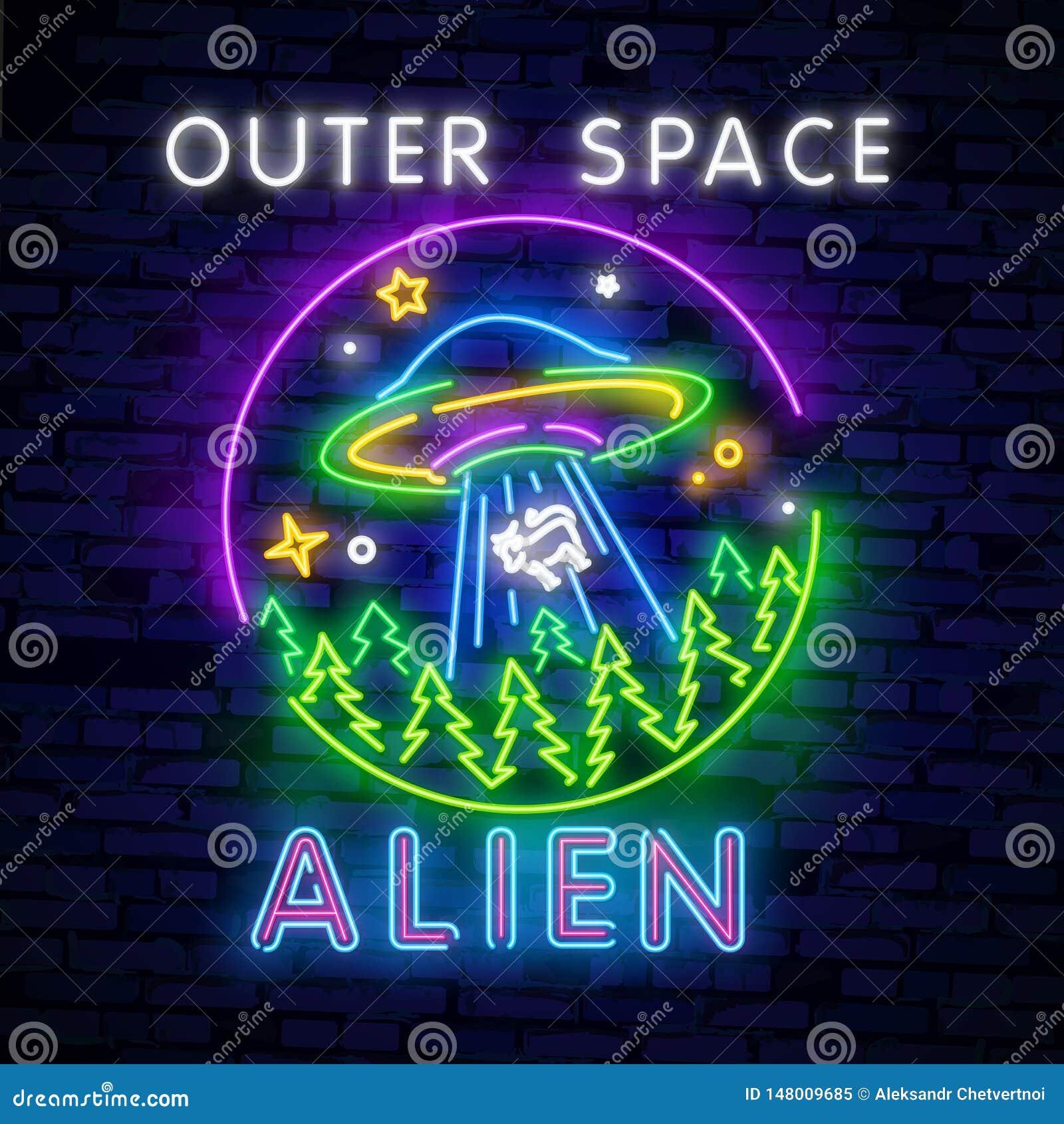 UFO dell insegna al neon dello spazio Retro neon Concetto cosmico del modello di progettazione di tema Progettazione al neon del