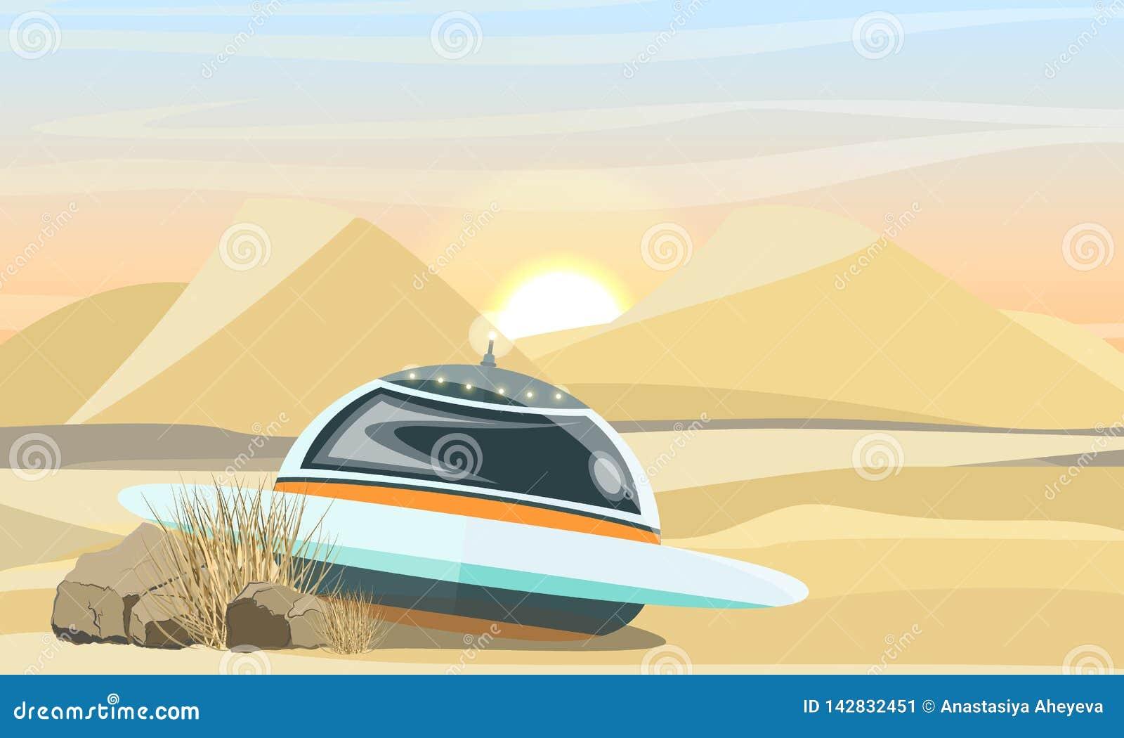 UFO die in de woestijn landen De instorting van het ruimtevaartuig ter wereld