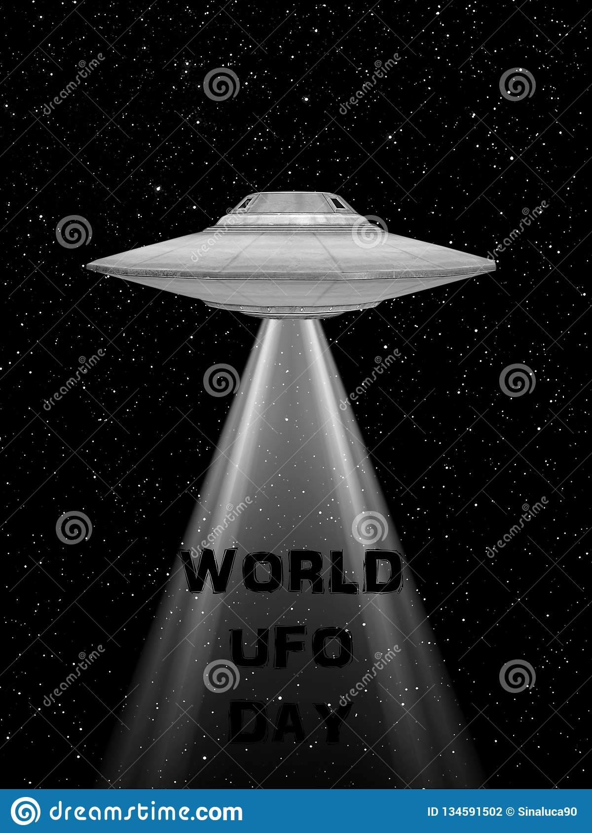 Ufo flying spaceship. World UFO Day. Flying saucer. rappresentation of and UFO with a light