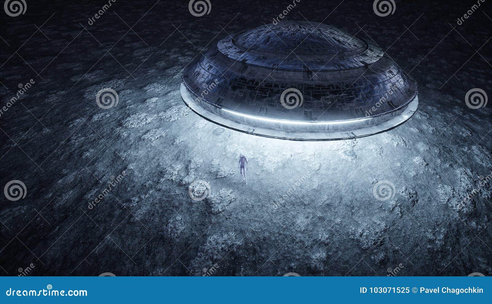 Ufo med främlingen på månen ufobegrepp Realistiska metallshaders framförande 3d