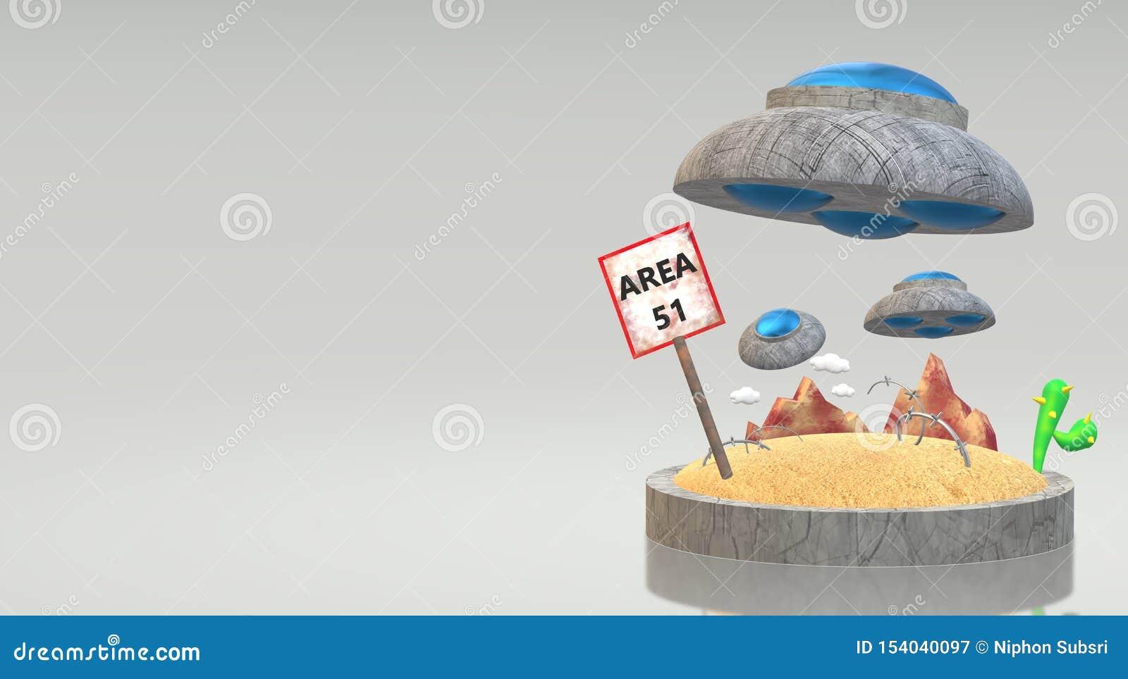 UFO na rendição 3d da área 51 para o índice da ciência