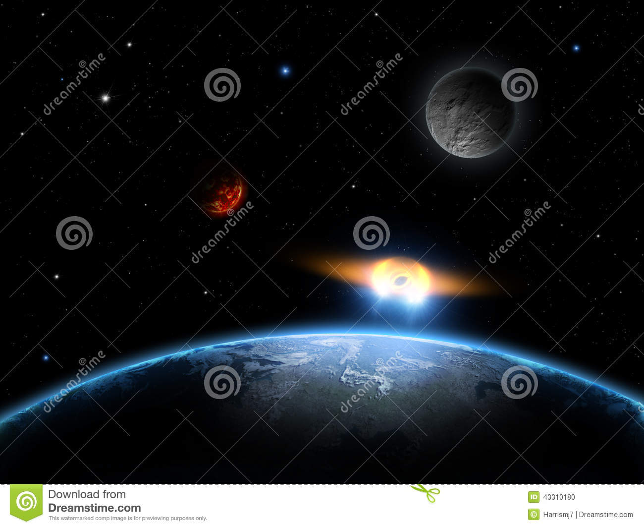 UFO Space Scene With Earth Moon Stars And Planet
