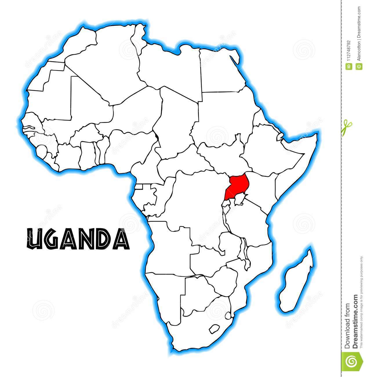 Map Of Africa Uganda Highlighted.Uganda Africa Map Stock Vector Illustration Of Black